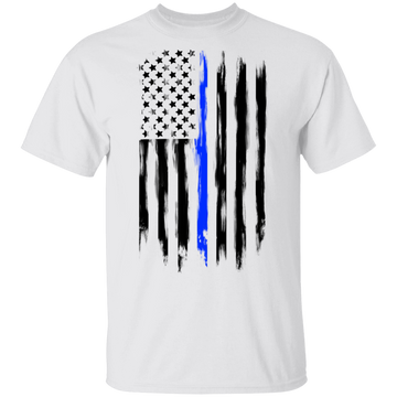 Law Enforcement Thin Blue Line American Flag T-Shirt