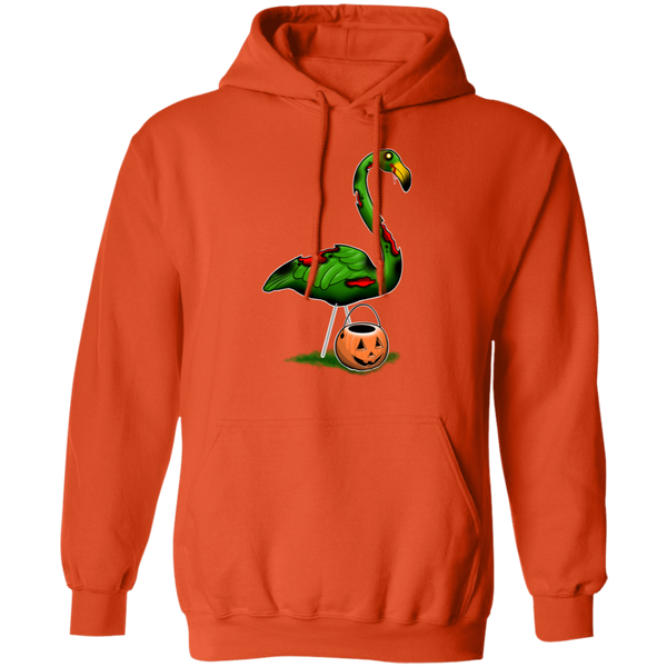 Zombie Flamingo Halloween Trick or Treat Pullover Hoodie