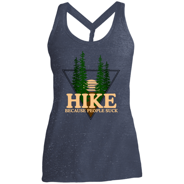Hike Because People Suck Camping Women's Cosmic Twist Back Tank
