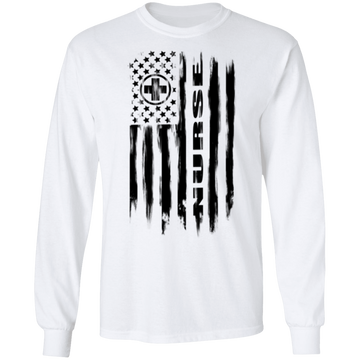 Nurse Hospital RN Nursing Medical American Flag Long Sleeve T-Shirt