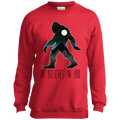 Boys' Bigfoot Sasquatch He Believes in You Funny Crewneck Sweatshirt