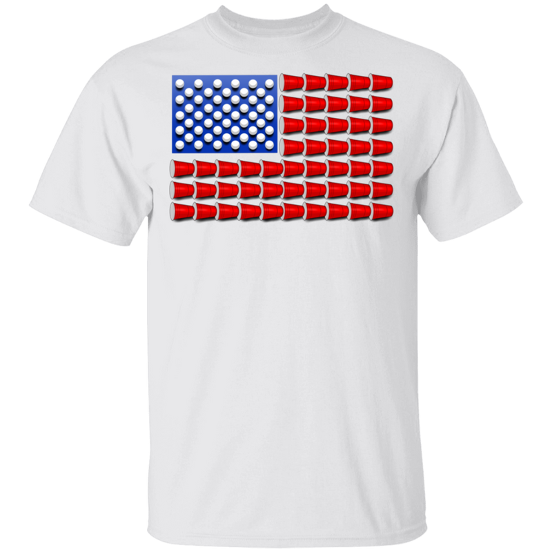 Beer Pong Red Cup American Flag T-Shirt