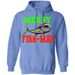 Merry Fishmas Saltwater Yellowtail Ugly Christmas Pullover Hoodie