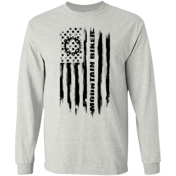 Mountain Biker Biking Cyclist American Flag Long Sleeve T-Shirt