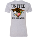 Women's Lady Patriot American Bald Eagle United We Stand  Double Sided Boyfriend T-Shirt