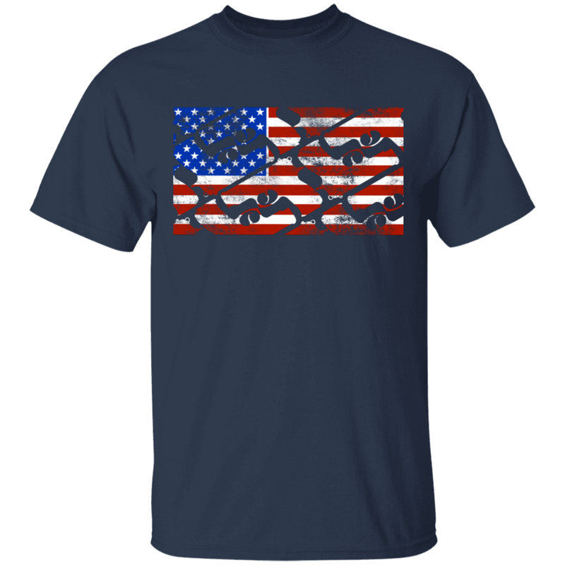 Handgun Pistol Firearm American Flag T-Shirt
