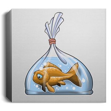 Sad Goldfish in a Bag Square Canvas 1.5in Frame