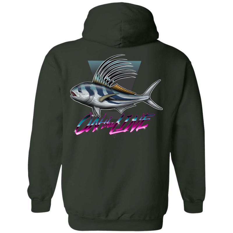Rooster Fish On The Line Saltwater Double Sided Pullover Hoodie