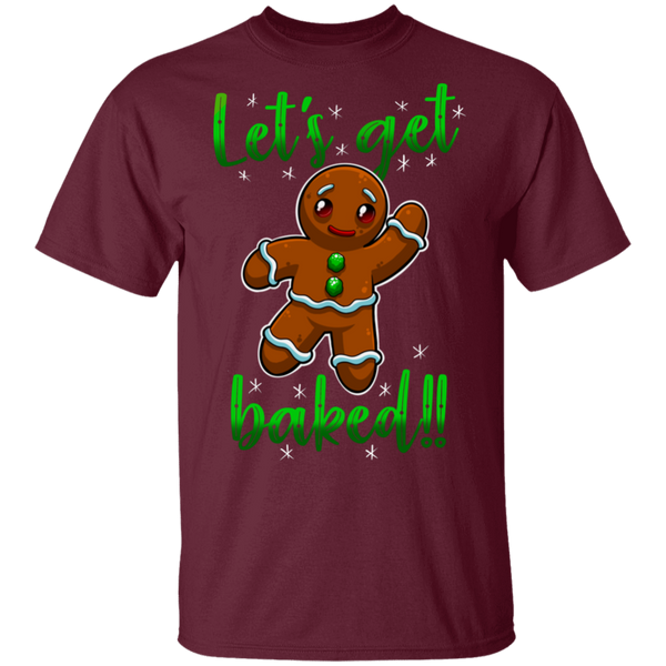 Let's Get Baked Funny Gingerbread Man Ugly Christmas T-Shirt