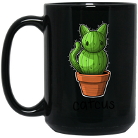 Cat Cactus Plant 15 oz. Black Coffee Mug