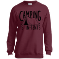 Boys' Camping is In-Tents Funny Crewneck Sweatshirt