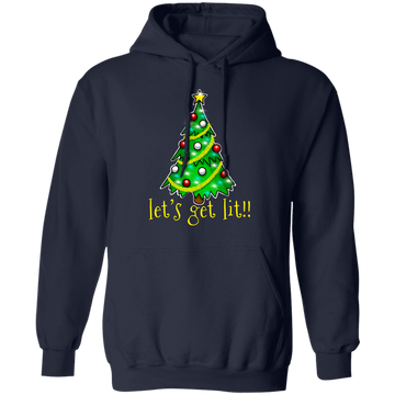 Let's Get Lit!! Christmas Tree Ugly Christmas Pullover Hoodie
