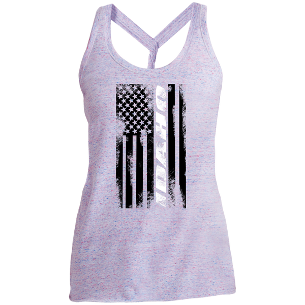 Idaho State American Flag Women's Cosmic Twist Back Tank