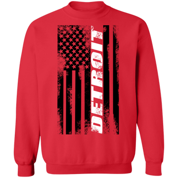 Detroit Michigan American Flag Crewneck Sweatshirt