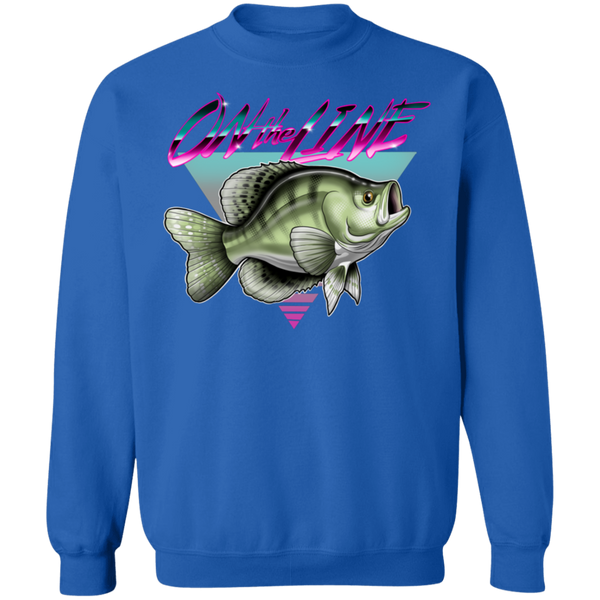 White Crappie Perch On The Line Saltwater Fish Crewneck Sweatshirt