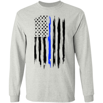Law Enforcement Thin Blue Line American Flag Long Sleeve T-Shirt