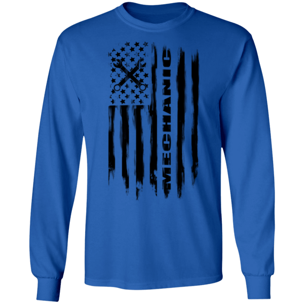 Mechanic Automotive Repair Enthusiast American Flag Long Sleeve T-Shirt