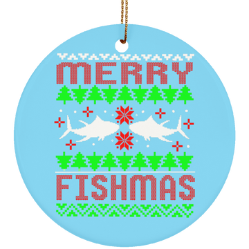 Merry Fishmas Saltwater Ugly Christmas Ceramic Ornament