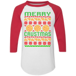Merry Crustmas Funny Ugly Christmas Baseball Raglan T-Shirt