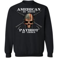 American by Birth Patriot by Choice American Flag Skull Crewneck Sweatshirt
