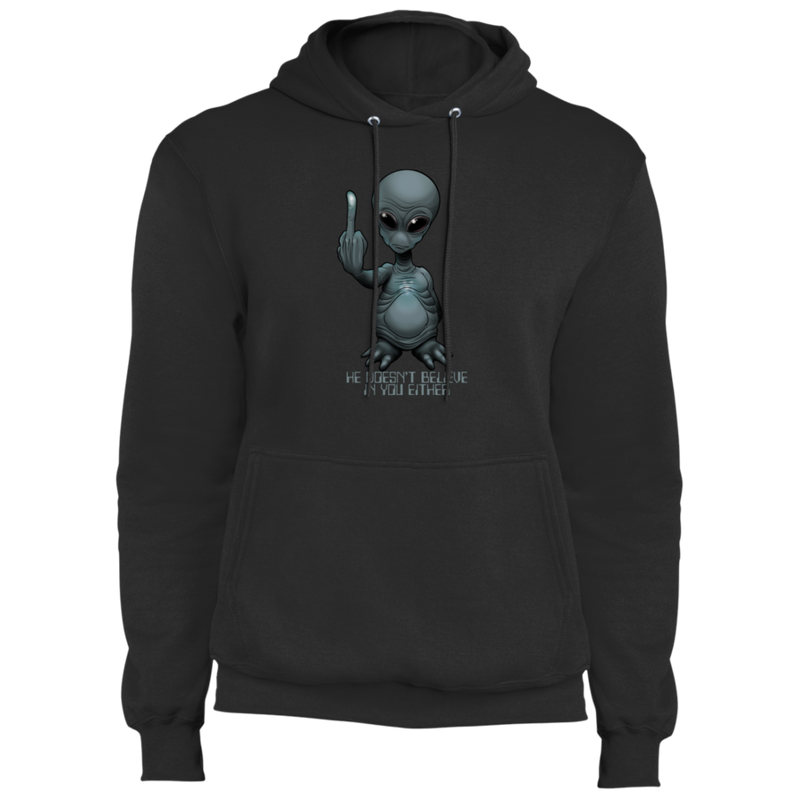 Men's Space Alien Doesn't Believe in You Either  Fleece Pullover Hoodie