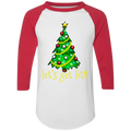 Let's Get Lit!! Christmas Tree Funny Ugly Christmas Baseball Raglan T-Shirt