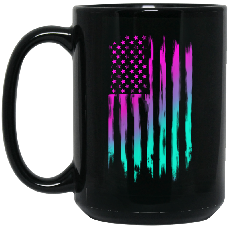 Retro Rave American Flag 15 oz. Black Coffee Mug