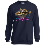 Calico Bass Kelp Bass On The Line Saltwater Youth Crewneck Sweatshirt