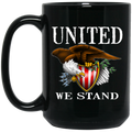 Bald Eagle United We Stand 15 oz. Black Coffee Mug