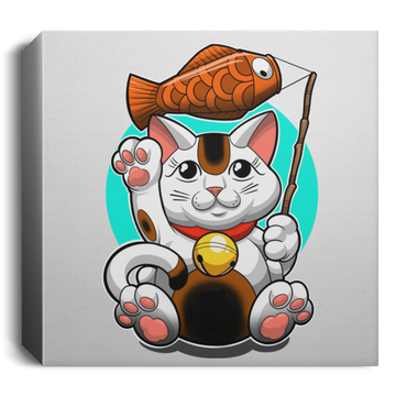 Lucky Cat Good Fortune Square Canvas 1.5in Frame