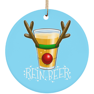 Rein-Beer Reindeer Santa Funny Christmas Ceramic Ornament