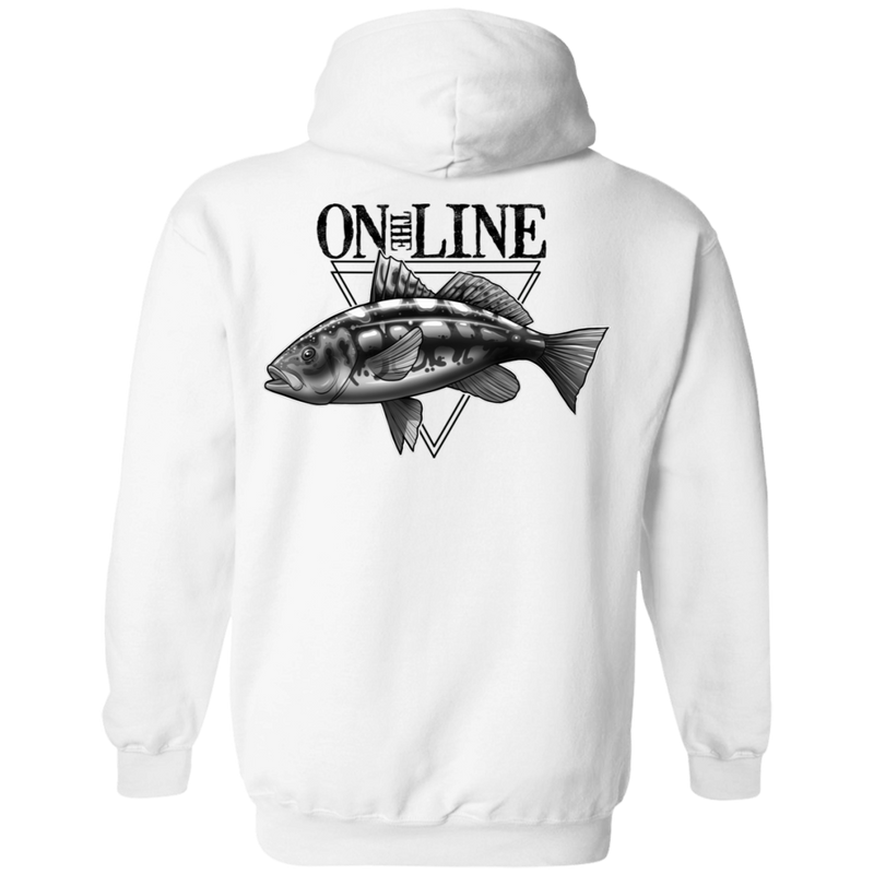 Calico Kelp Bass Fish On The Line Saltwater Double Sided Pullover Hoodie