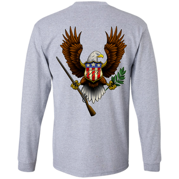 1776 American Bald Eagle Double Sided Long Sleeve T-Shirt