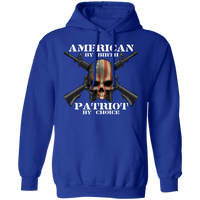American by Birth Patriot by Choice American Flag Skull Pullover Hoodie