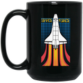 80s Space Force Rocket Ship Retro 15 oz. Black Coffee Mug