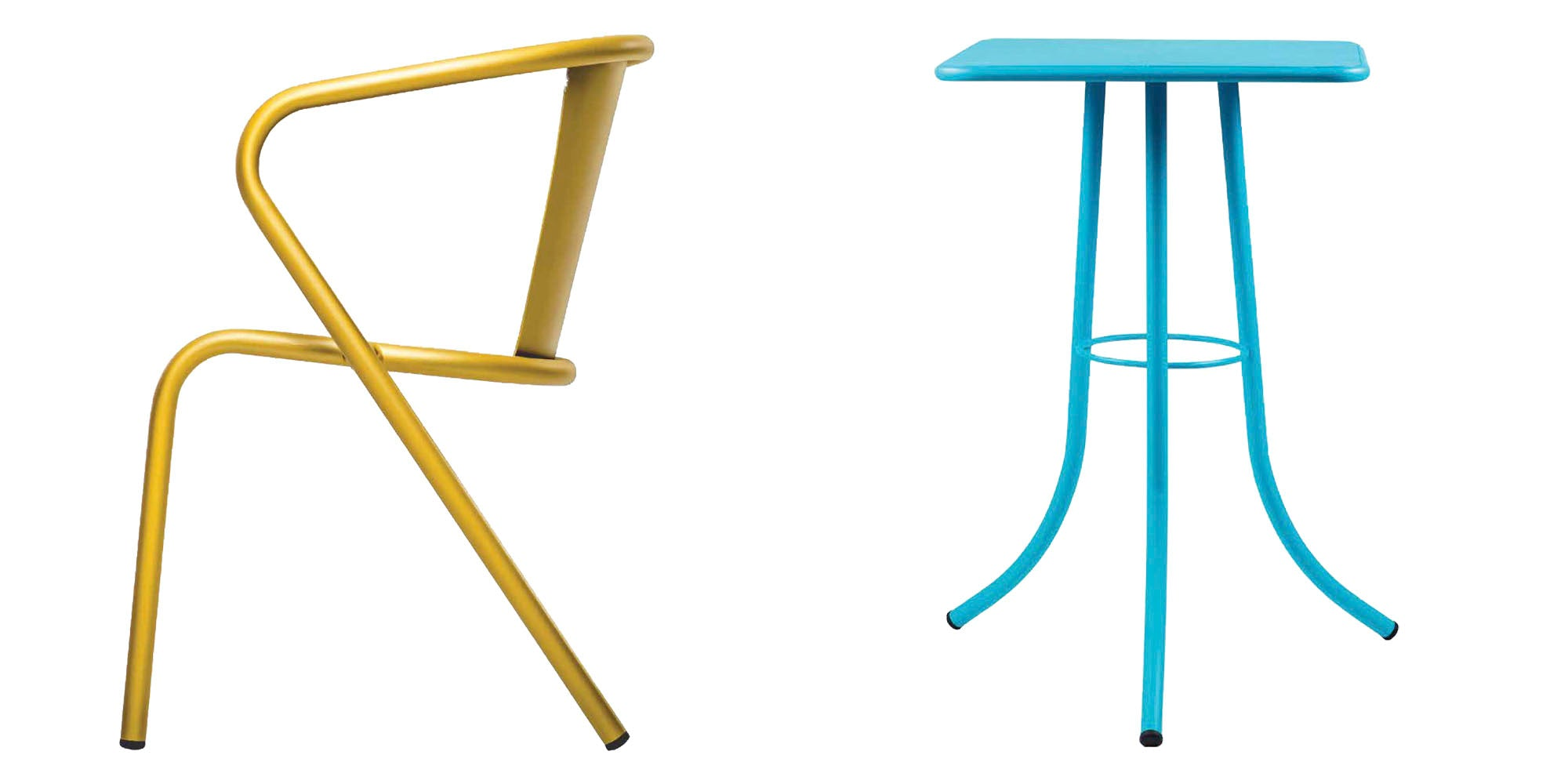 bica chair yellow bica table blue