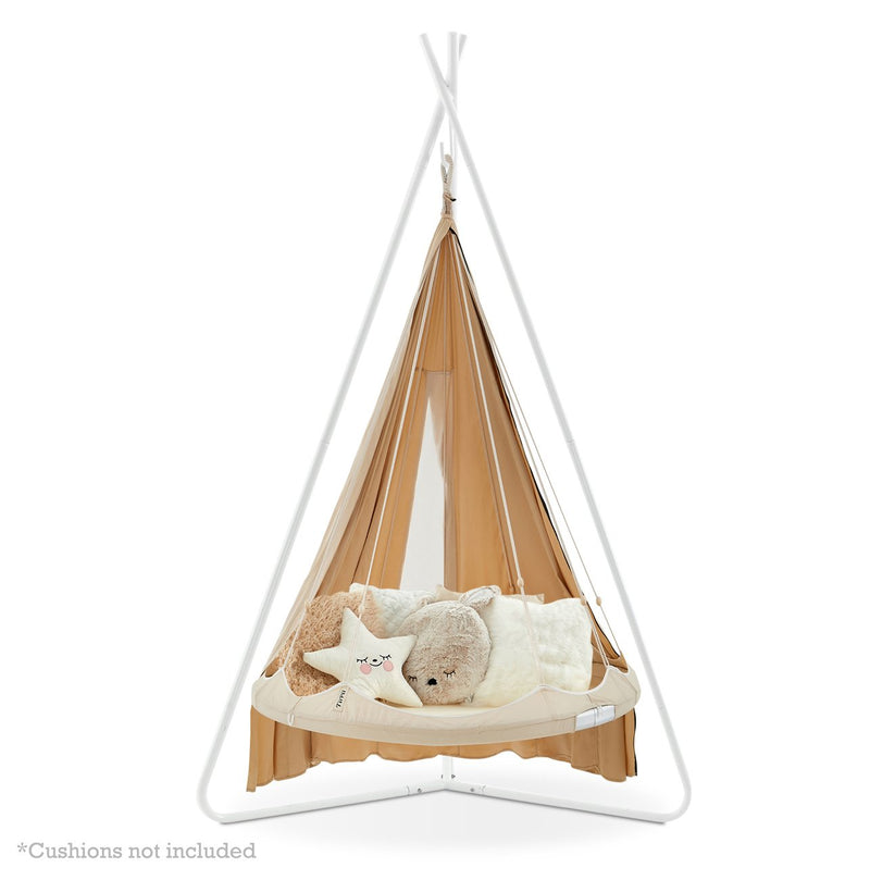 Kids 'Bambino' TiiPii Bed (Small) on stand with poncho