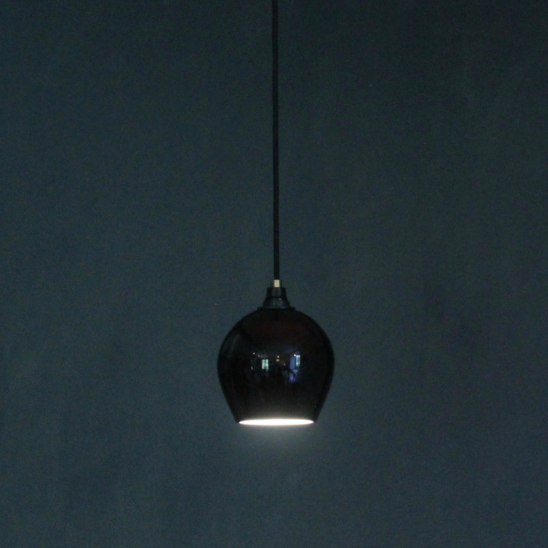 One Foot Taller Bell Glass Pendant Black Exterior and White Interior