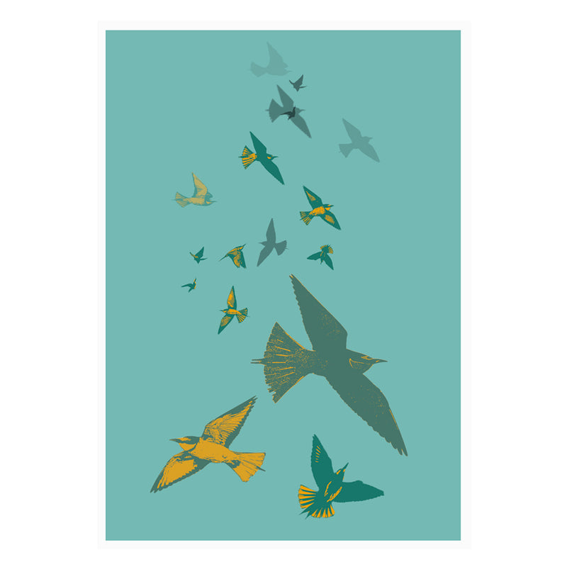 Bee Eaters Stamped Wall Art Poster By Hershgold Blue
