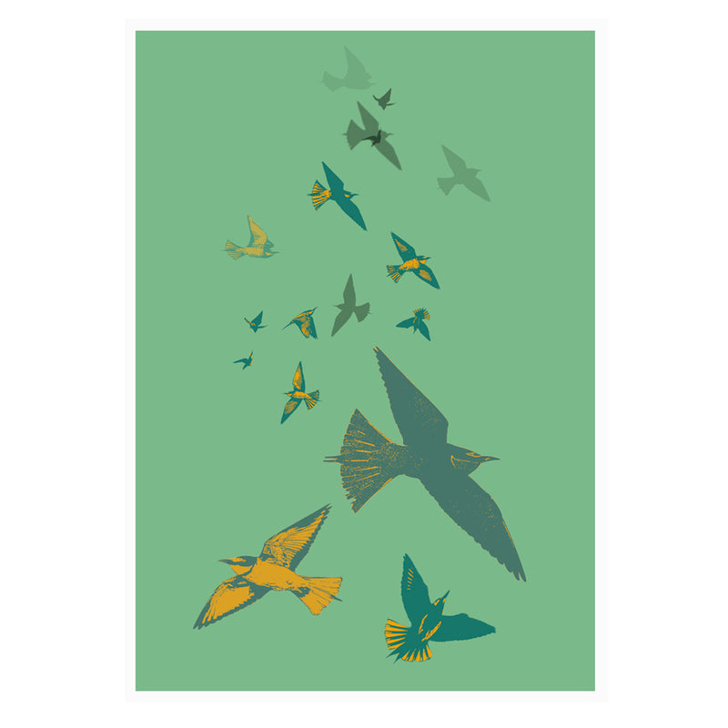Bee Eaters Stamped Wall Art Poster By Hershgold Green