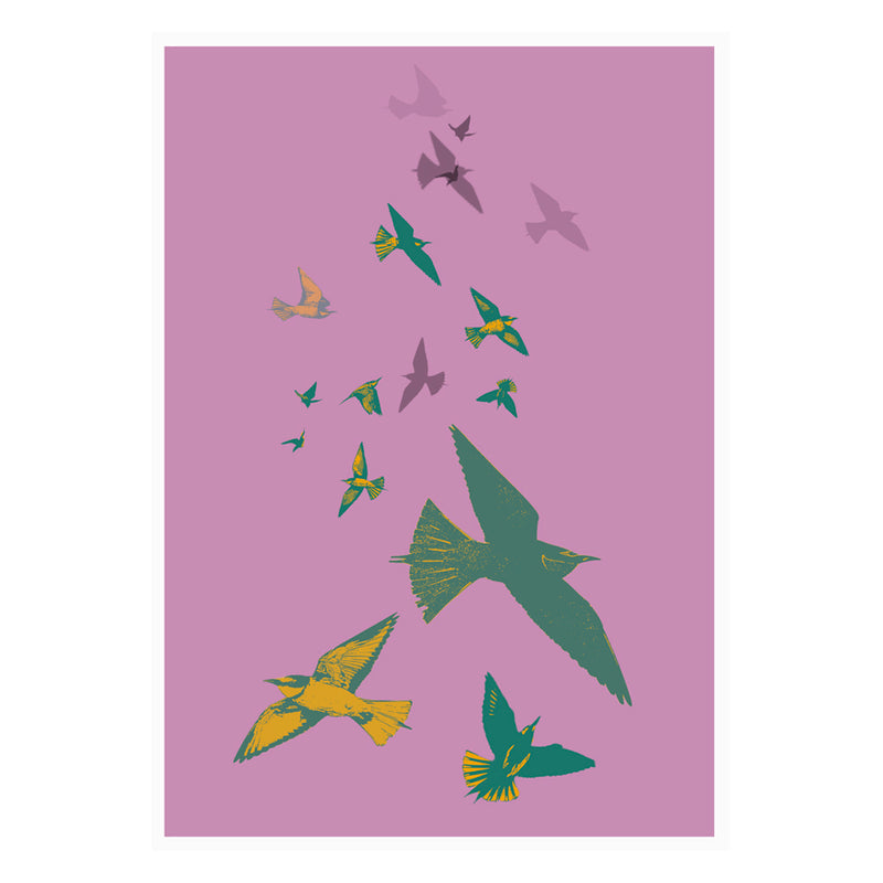 Bee Eaters Stamped Wall Art Poster By Hershgold
