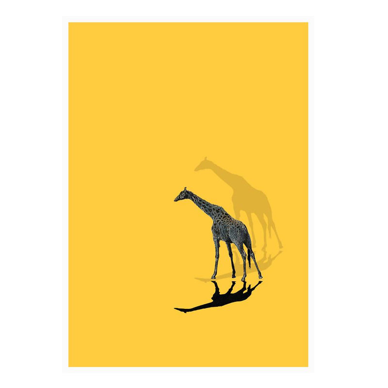 One Giraffe Wall Poster By Hershgold Yellow