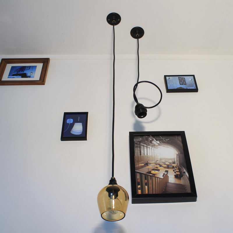 Black cable pendant drop for lampshades and diffusers, E14 and E27