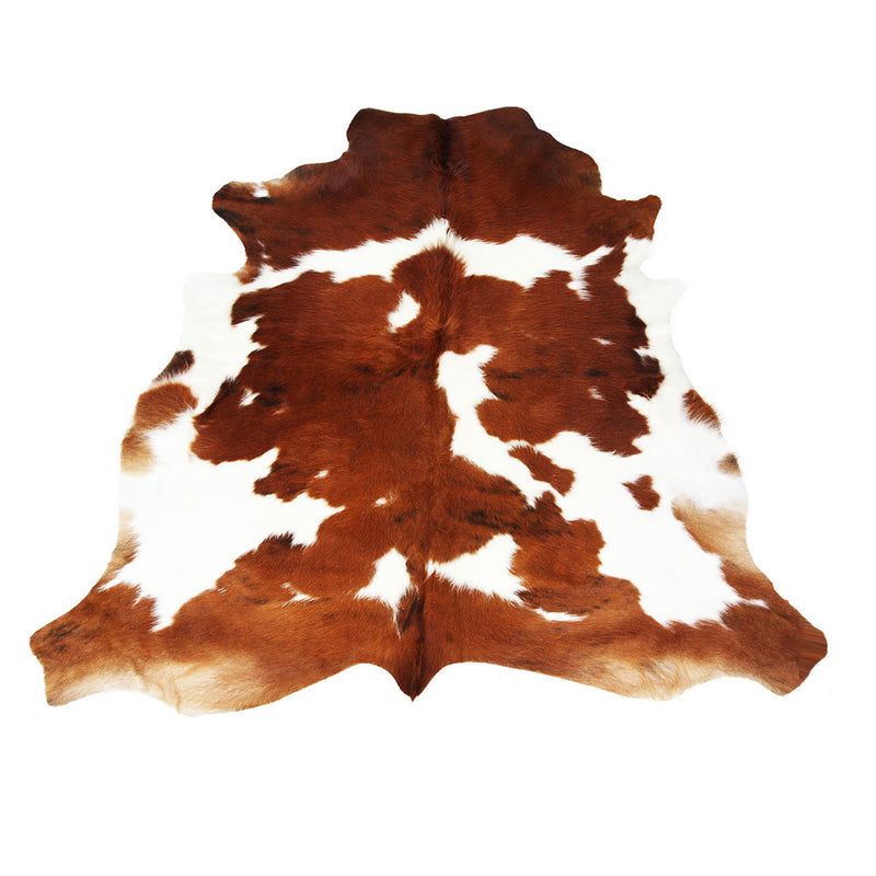 Cowhide Rug Coffee Brown And White-Large