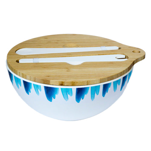 Emilie O'connor Blue Wave Large Bamboo Salad Bowl With Tongs