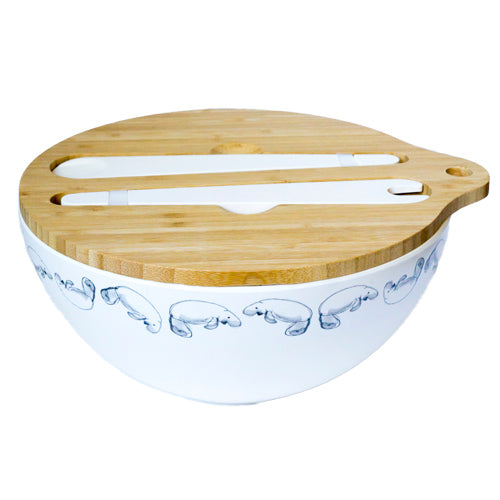Emilie O'Connor Dugong Grey Large Bamboo Salad Bowl ,Cups & Plates Set