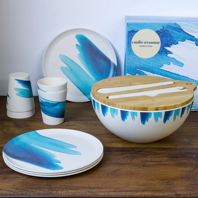 Emilie O'Connor Blue Wave Large Bamboo Salad Bowl ,Cups And Plates Set