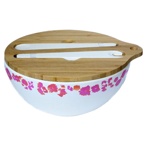 Emilie O'Connor Coral Reef Large Bamboo Salad Bowl With Tongs