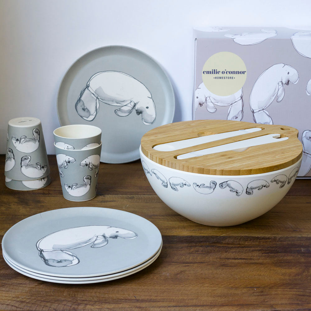 Emilie O'Connor Dugong Grey Large Bamboo Salad Bowl ,Cups And Plates Set