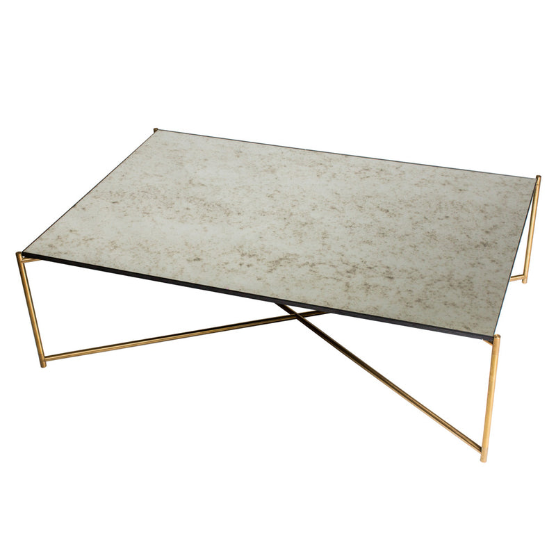 GillmoreSpace Iris Brass Rectangle Coffee Table Antique Glass
